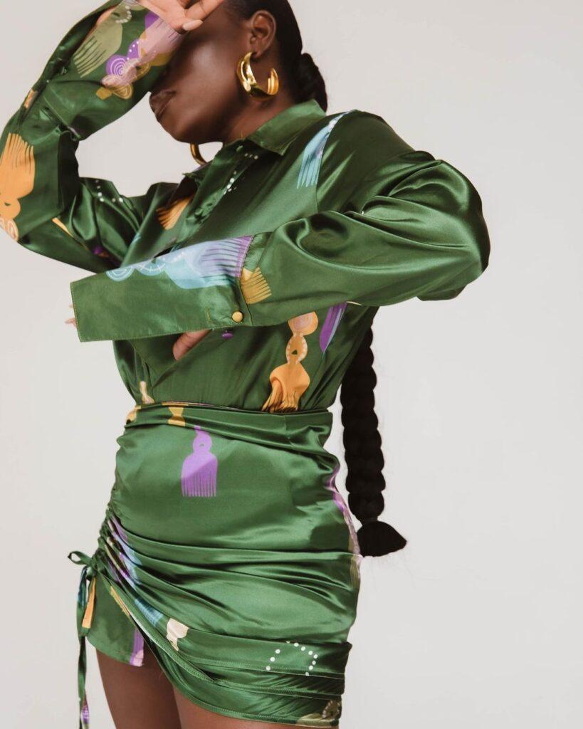 Chizi Duru rocks Kai Collective Irun shirt and skirt