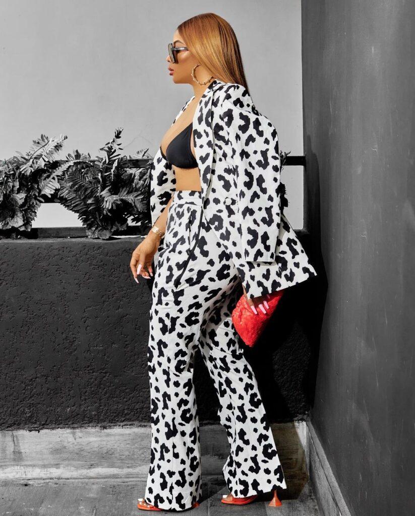 Toke Makinwa Teams Her White Leopard Print With Amina Muaddi